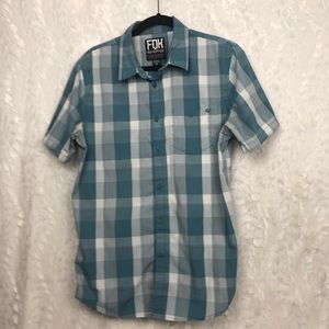 Fox teal gray checked s/s shirt cotton poly blend
